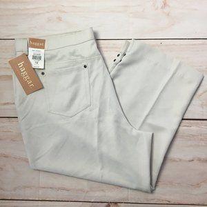NEW Haggar Cropped Casual Golf Zip Pants Tan 18